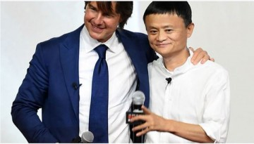 Alibaba founder Jack Ma with actor Tom Cruise. The company denied that it is buying Paramount Pictures despite being one of the major investors for Cruise's film