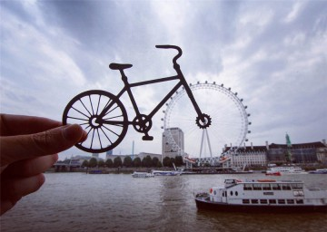The London Eye turns into a bicycle wheel in artist Rich McCor's creative photograph.