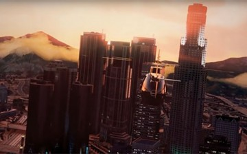 A helicopter flies over the fictional city of