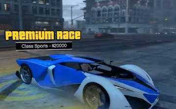 A supercar enters a Premium Race in the GTA V Online Cunning Stunts DLC update