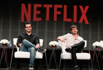 Actors Wagner Moura and Pedro Pascal speak onstage during the 'Narcos' panel discussion at the Netflix portion of the 2015 Summer TCA Tour at The Beverly Hilton Hotel on July 28, 2015 in Beverly Hills, California.
