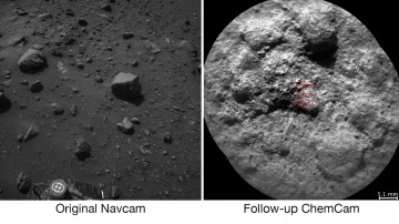 NASA's Curiosity Mars rover autonomously selects some targets for the laser and telescopic camera of its ChemCam instrument. For example, on-board software analyzed the Navcam image at left, chose the target indicated with a yellow dot, and pointed ChemCa