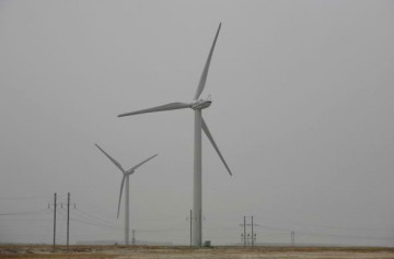 Wind turbines are seen at the Dagangzi Wind Farm on April 20, 2008, in Baicheng of Jilin Province, China.