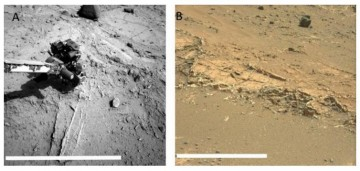 Sulfate veins prominent at Darwin outcrop veins, observed on sol 402 and (right) Garden City image, observed on sol 924. White sulfate veins cut through the surrounding sediments.