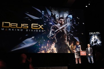 Executive Narrative Director at Eidos Montreal, Mary DeMarle introduces 'Deus Ex Mankind Divided' during the Square Enix press conference at the JW Marriott on June 16, 2015 in Los Angeles, California.
