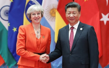 Chinese President Xi Jinping (right) shakes hands with British Prime Minister Theresa May during the G20 Summit on Sept. 4, 2016 in Hangzhou, China.