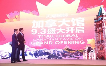 Canadian Prime Minister Trudeau joins Jack Ma, chairman of the Alibaba Group, at the launch of the Canada Pavilion on Alibaba's online shopping site, TMall Global.
