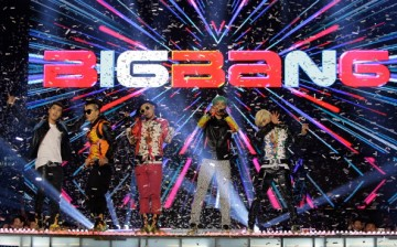 Bigbang perform on the stage during a concert at the K-Collection In Seoul on March 11, 2012 in Seoul, South Korea.