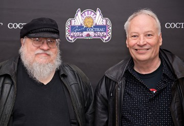 'Winds of Winter' writer George R. R. Martin and Joe Lansdale pose before SundanceTV's 'Hap & Leonard' Screening at the Jean Cocteau Theater on February 23, 2016 in Santa Fe, New Mexico.