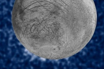 A composite image by NASA shows possible water plumes at 7 o'clock on the face of Europa.