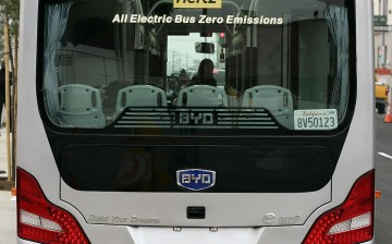 A BYD Co. electric bus used by Hertz Corp. is parked at the company's North American headquarters in Los Angeles.