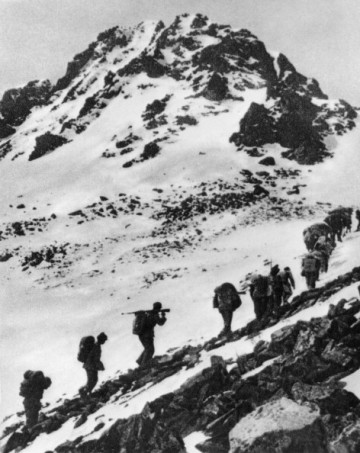 The Red Army crossing the Jiajinshan Mountain during the Long March.