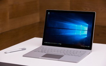 A new Microsoft Surface Book sits on display at a media event for new Microsoft products on October 6, 2015 in New York City.