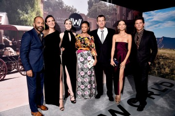 Jeffrey Wright, Executive producer/writer Lisa Joy, actresses Evan Rachel Wood, Thandie Newton, Executive producer/writer/director Jonathan Nolan, actress Angela Sarafyan and actor James Marsden attend the premiere of HBO's 'Westworld' at TCL Chinese Thea