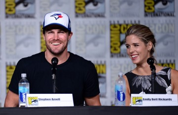 Stephen Amell and Emily Bett Rickards attend the 'Arrow' Special Video Presentation and Q&A during Comic-Con International 2016 held on July 23, 2016 in San Diego, California.