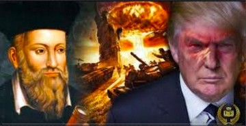 YouTube Screen icon displaying Donald Trump and Nostradamus behind a chaotic environment.