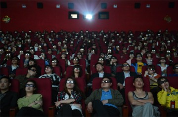 Chinese audience watching a 3D movie