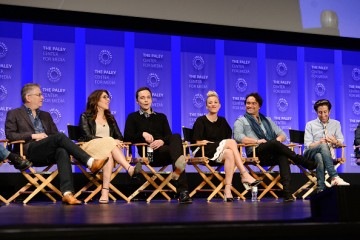 Steven Molaro, Bill Prady, Mayim Bialik, Jim Parsons, Kaley Cuoco, Johnny Galecki, and Simon Helberg attend The Paley Center For Media's 33rd Annual PALEYFEST Los Angeles.