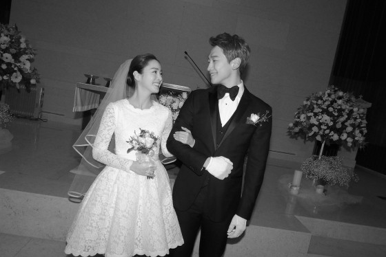 South Korean Actors Rain And Kim Tae Hee Smile During Their Wedding At Gahoe Dong Catholic Church On Jan 19 2017
