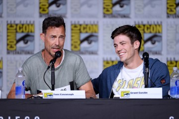 Tom Cavanagh and Grant Gustin attend the 'The Flash' Special Video Presentation and Q&A during Comic-Con International 2016 at San Diego Convention Center on July 23, 2016 in San Diego, California.