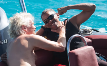 Sir Richard Branson and former U.S. President Barack Obama are seen having a good time during the British Virgin Islands encounter.