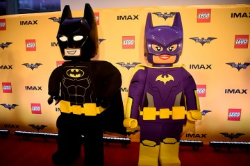 Action Figures and Statues of 'The Lego Batman Movie' on display for the New York Screening at AMC Loews Lincoln Square 13 on February 9, 2017 in New York City.