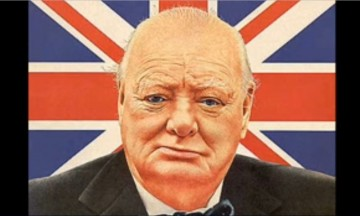 A portrait of Winston Churchill having a British flag as its background.
