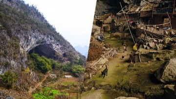 With the construction of a cable car, the outside world is so much closer to the residents of Zhongdong Cave.