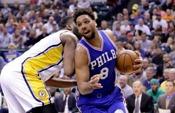 Jahil Okafor of the Philadelphia 76ers dribbles the ball during the game against the Indiana Pacers at Bankers Life Fieldhouse on November 9, 2016 in Indianapolis, Indiana.