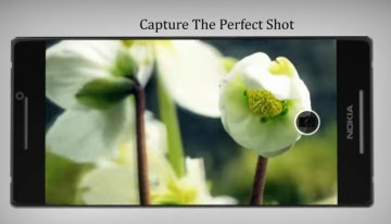 A smartphone is showcasing the capturing capability of its camera.