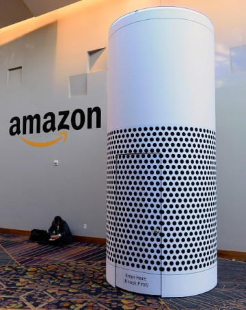 An Amazon Echo installation at the Aria Resort & Casino at the 2017 International CES.