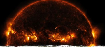 A portion of the sun is displayed to showcase its magnificence and the burning heat of its atmosphere.