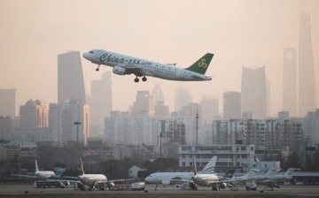 A plane from Chinese carrier Spring Airlines departs from Hongqiaou Airport in Shanghai.