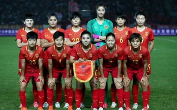 The members of the Chinese women's football team participating in the 2017 Algarve Cup