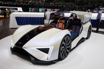A Techrules Ren concept car at the 87th International Motor Show in Geneva, Switzerland.
