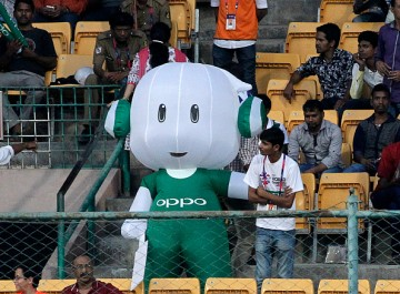 An Oppo mascot is seen in the stands during the ICC World Twenty20 India 2016 match between Sri Lanka and West Indies at M. Chinnaswamy Stadium on March 20, 2016 in Bangalore, India.
