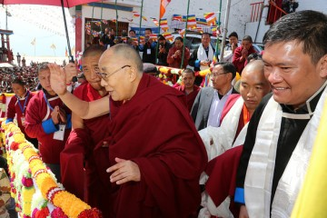 Dalai Lama leaving Tawang after a four-day visit.