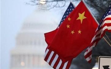 The People's Republic of China flag and the U.S. flag in Washington, D.C.
