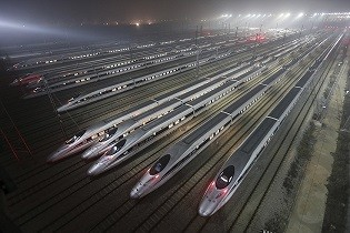 China's high-speed trains at a maintenance base in Wuhan, Hubei Province.