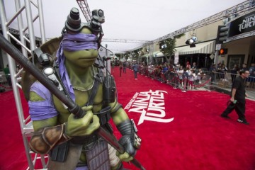 A life-size model of the character 'Donatello' from Teenage Mutant Ninja Turtles