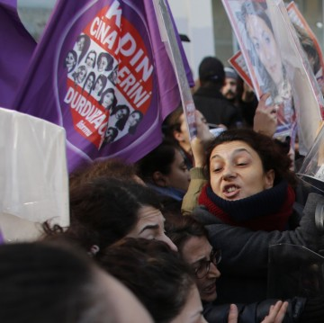 Women protesting for equal rights in Istanbul.