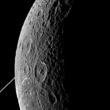 Cassini's view of Saturn' cratered moon Dione taken last Tuesday, June 16.