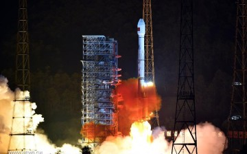 A Long March-3B/Yuanzheng-1 rocket carrying two satellites for the Beidou Navigation Satellite System (BDS) blasts off from the Xichang Satellite Launch Center, Sichuan Province, July 25, 2015.