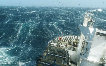 A research vessel ploughs through the waves, braving the strong westerly winds of the Roaring Forties in the Southern Ocean in order to measure levels of dissolved carbon dioxide in the surface ocean.