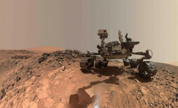 A low-angle self-portrait of NASA's Curiosity Mars rover shows the vehicle at the site from which it reached down to drill into a rock target