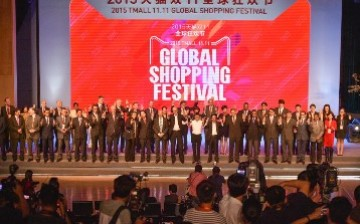 Alibaba founder and CEO Jack Ma and partners kick off this year's Singles' Day, which reached a record-breaking sale of $14 billion.