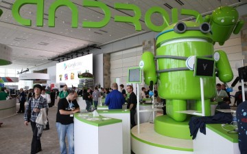 Attendees visit the Android booth during the Google I/O developers' conference at the Moscone Center on May 15, 2013 in San Francisco, California.