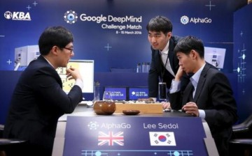 Lee Se-dol reviews the match after winning the fourth match over Google's artificial intelligence program AlphaGo in the Google DeepMind Challenge Match in Seoul, South Korea, on March 13.