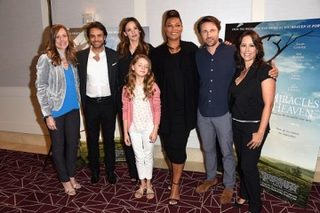 Christy Beam, Eugenio Derbez, Jennifer Garner, Kylie Rogers, Queen Latifah, Martin Henderson and Patricia Riggen attend Sony Pictures Releasing's 'Miracles From Heaven' Photo Call in West Hollywood, California.