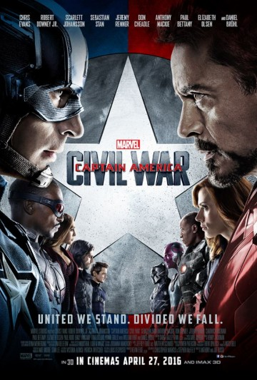Captain America: Civil War is the third installment of the Captain America films directed by Joe and Anthony Russo, staring  Chris Evans, Robert Downey Jr., Scarlett Johansson and Sebastian Stan.